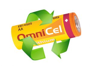 OmniCel battery with recycle symbol - recycle concept